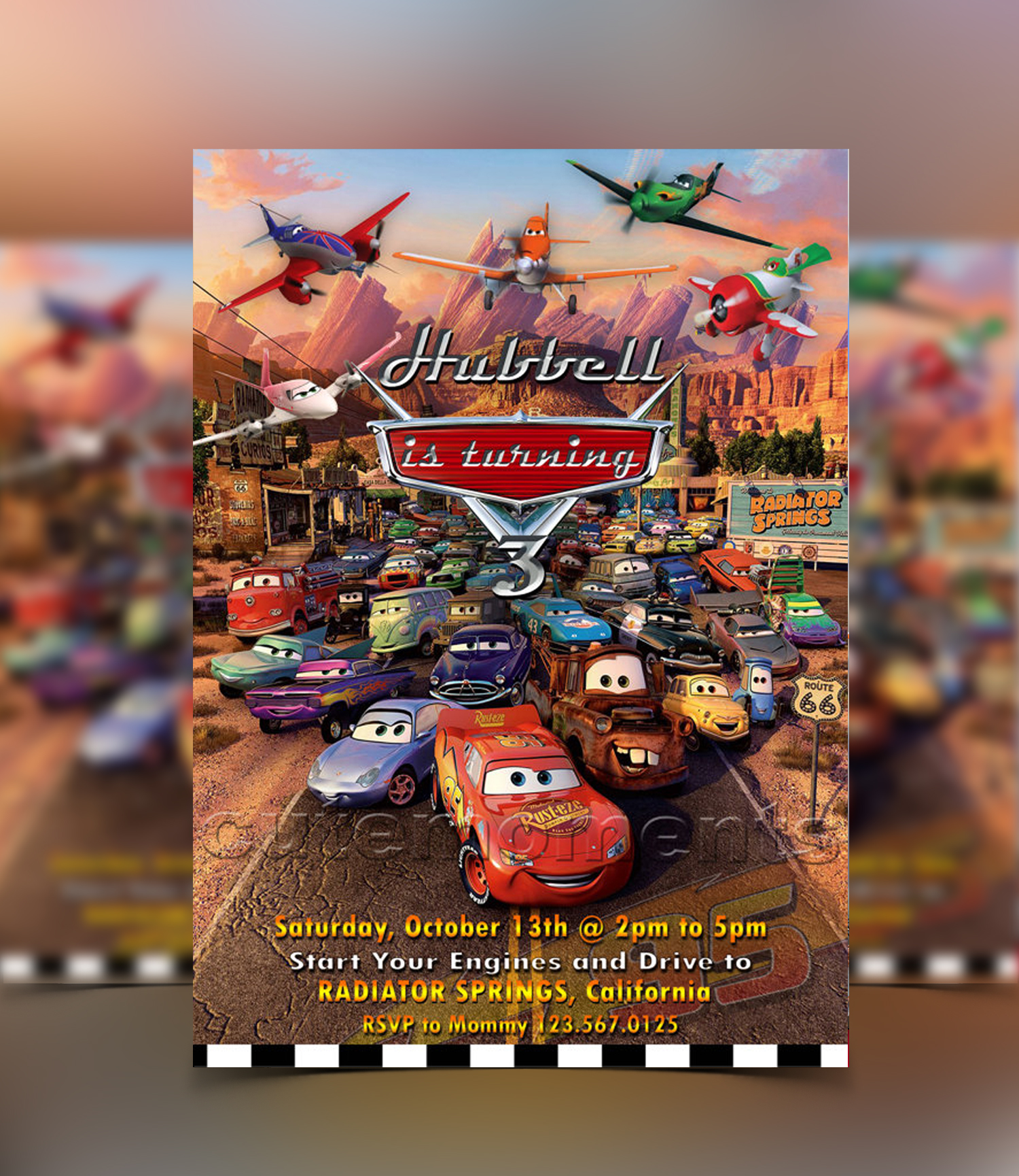 Disney Cars and Planes Invitation
