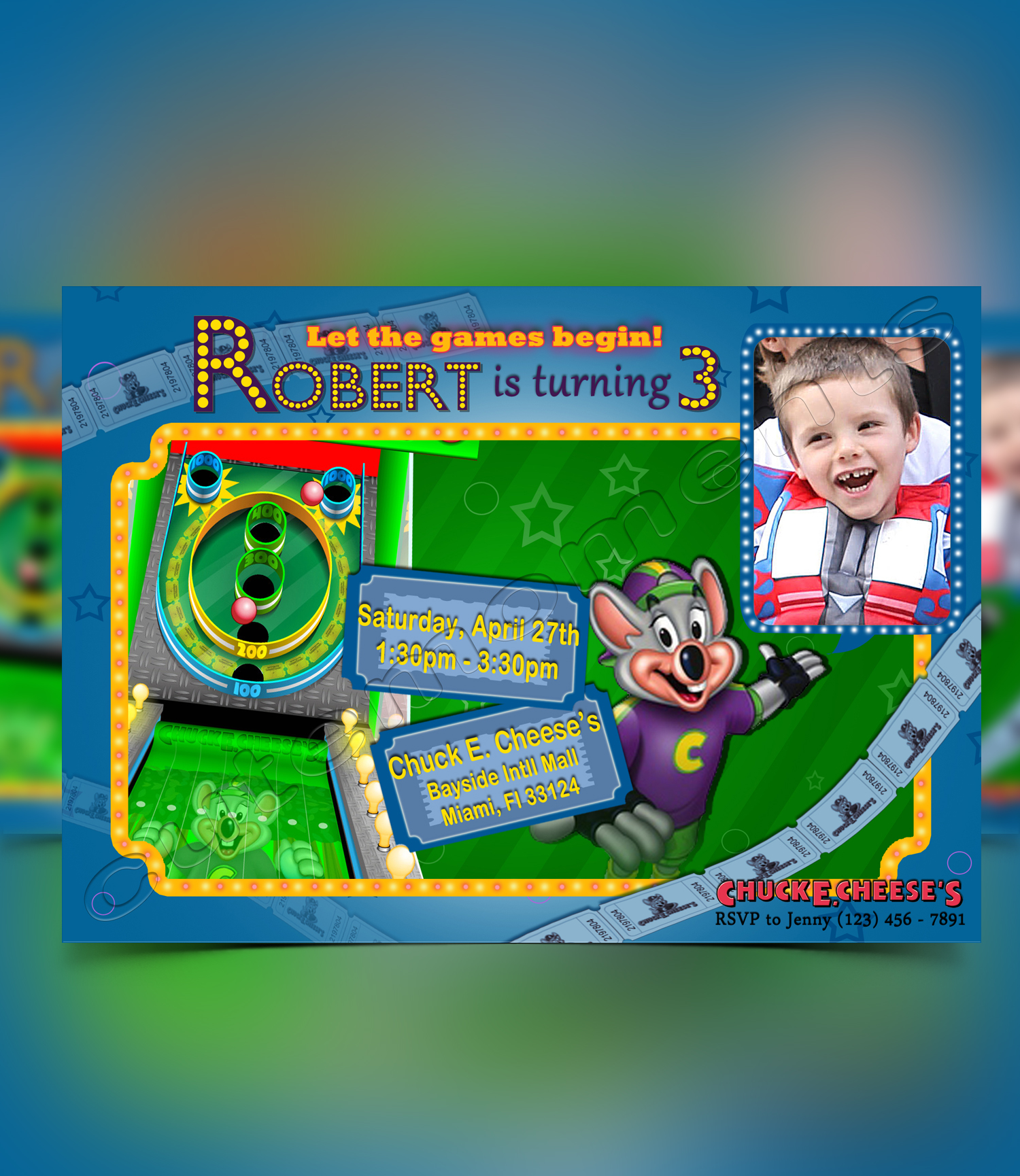 Chuck E Cheese's Boy Invitation