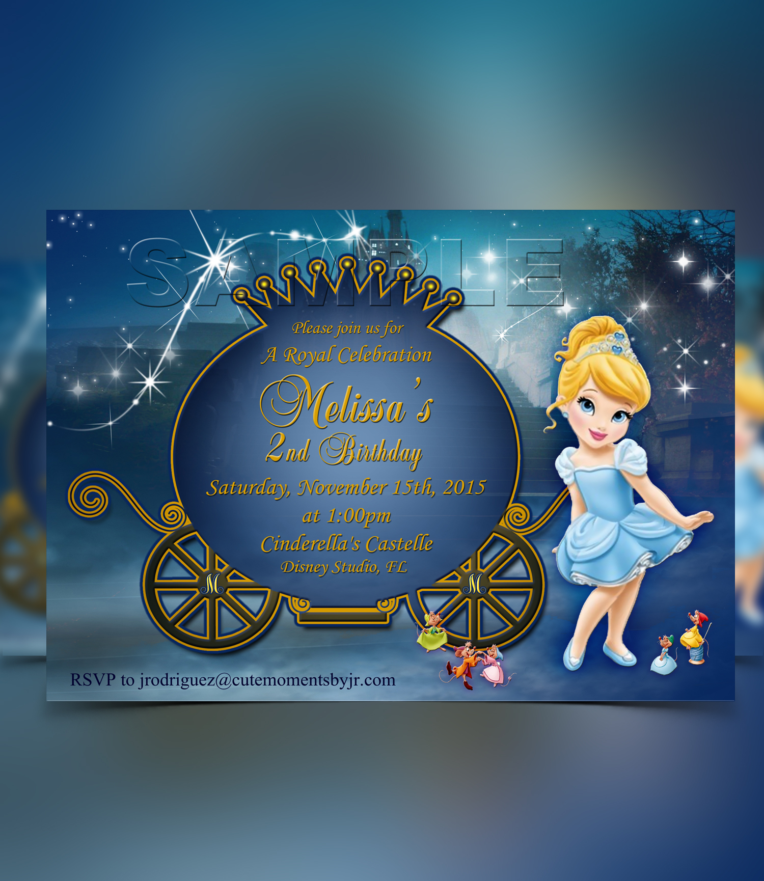Baby Princess Cinderella Invitation