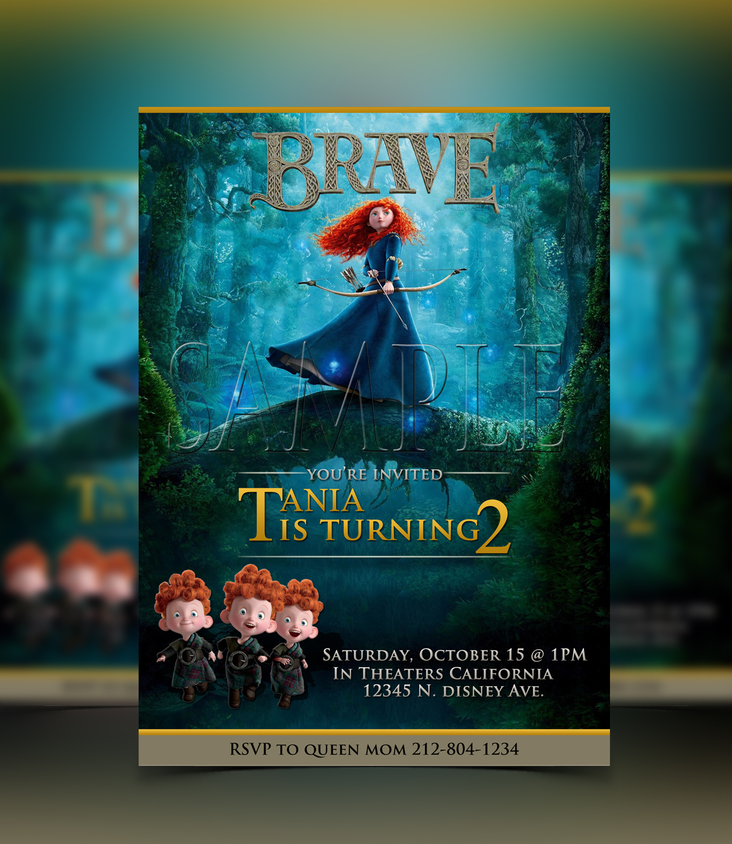 Disney Merida Invitation