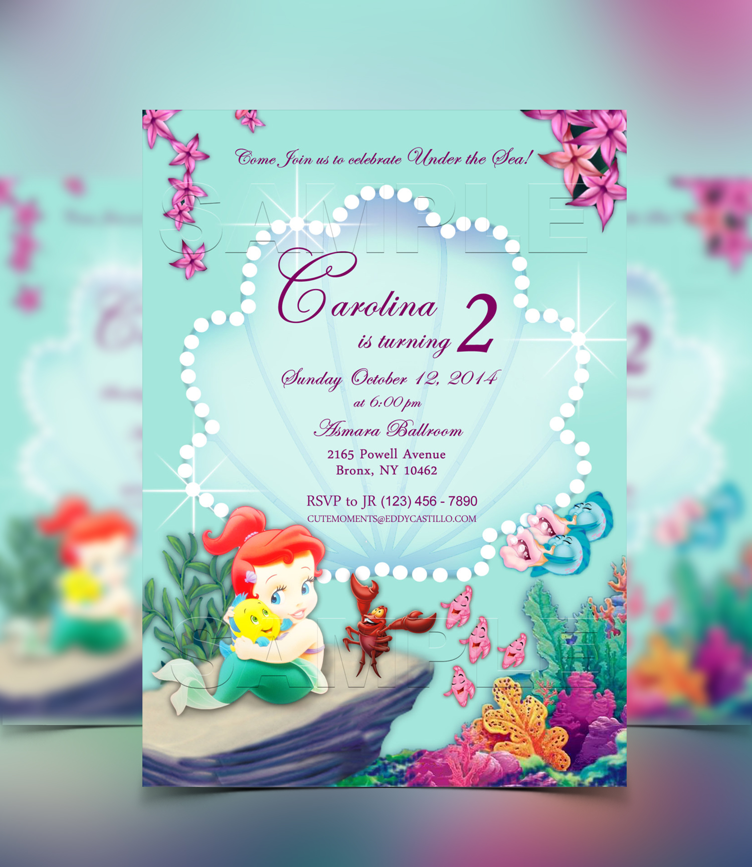 Cutemoments by jr disney baby princess ariel the little mermaid princess ariel disney princess personalized digital invitation solutioingenieria Image collections