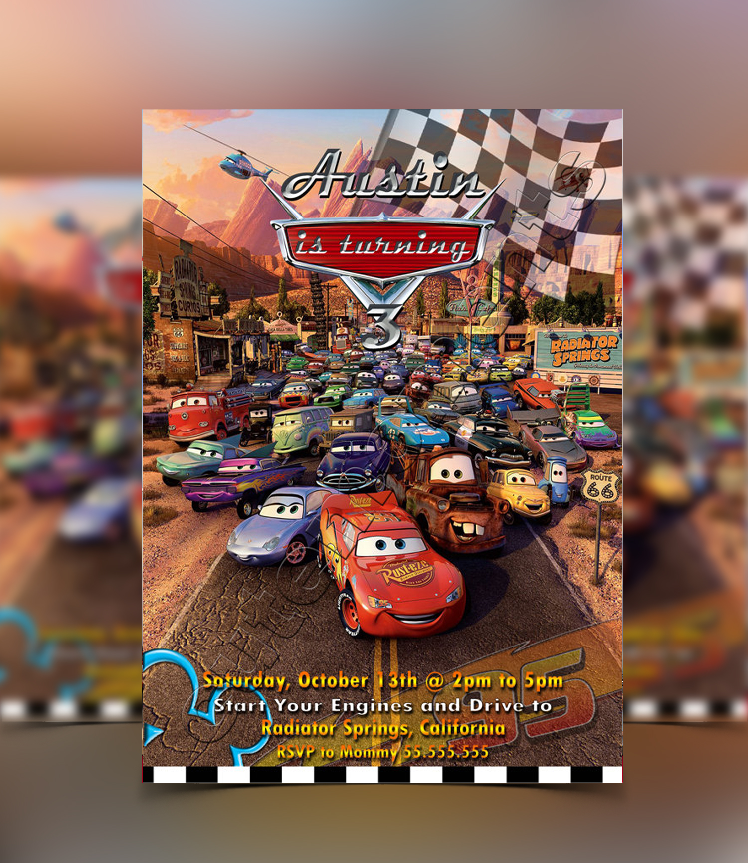 Disney Pixar Cars Invitation
